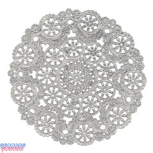 """Royal Lace Medallion 10"""" Silver Round Foil Paper Doilies"""