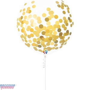 Pre-Filled Gold Confetti 17 inch Balloons with Curling Ribbon 3ct
