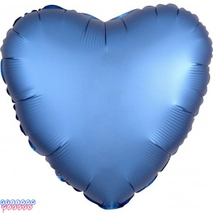 "Satin Luxe Azure 18"" Solid Color Heart Shape Foil Balloon"