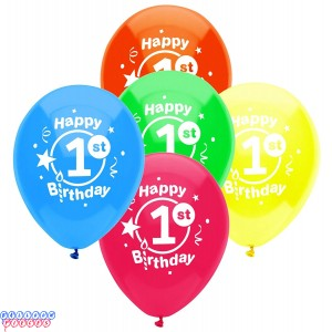 First Birthday Party 12inch Latex Balloons 8ct