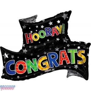 Congrats Grad Banner Shape Foil Balloon 36inch