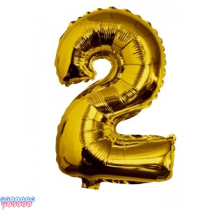 Giant Number 2 Gold Mylar Balloon 40in