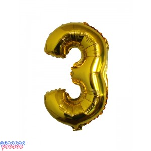 Giant Number 3 Gold Mylar Balloon 40in