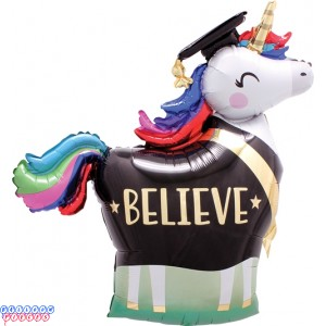 "Unicorn Believe Rainbow Graduation Grad Super-shape 33"" Foil Balloon"