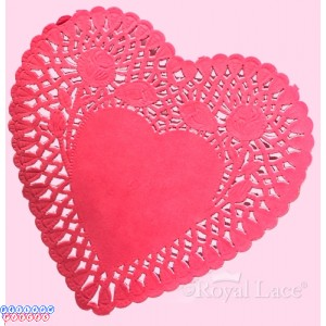 """Royal Lace 6"""" Red Lace Heart Paper Doilies"""