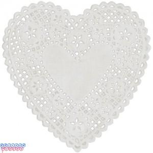 "Royal Lace 6"" White Lace Heart Paper Doilies"