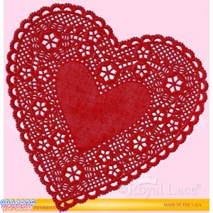 """Royal Lace 4"""" Red Lace Heart Paper Doilies"""