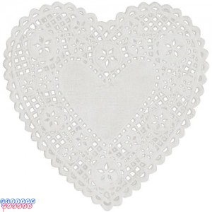 "Royal Lace 4"" White Lace Heart Paper Doilies"
