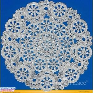 """Royal Lace Medallion 12"""" Silver Round Foil Paper Doilies"""