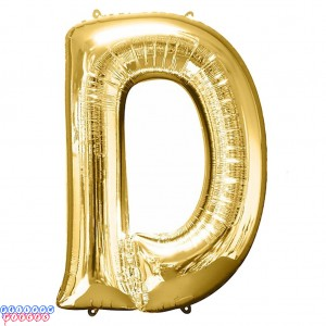 Giant Letter D Gold Mylar Balloon 40in