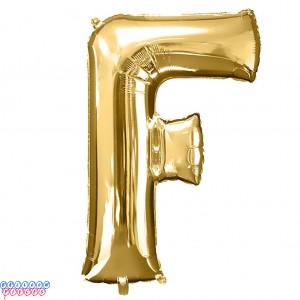Giant Letter F Gold Mylar Balloon 40in