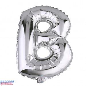 Giant Letter B Silver Mylar Balloon 40in
