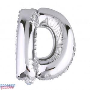 Giant Letter D Silver Mylar Balloon 40in