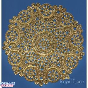 """Royal Lace Medallion 10"""" Gold Round Foil Paper Doilies"""