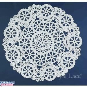 "Royal Lace Medallion 4"" White Round Lace Paper Doilies"
