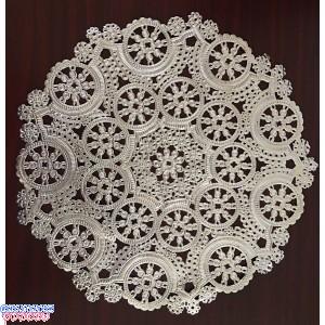 """Royal Lace Medallion 8"""" Silver Round Foil Paper Doilies"""